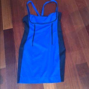 Jay Godfrey blue and black trim mini dress